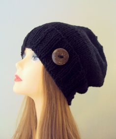 BUTTON HAT Slouchy Hat Slouch Beanie Hand Knit Winter Hat Black Chunky Hat Women Winter Accessories Holiday Fashion  by GrahamsBazaar, $34.99