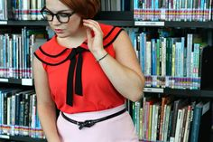 The Belted Pear | Pink Pencil skirt | Peter Pan collar | mary janes | vintage fashion | 1950's | librarian chic | pear shaped