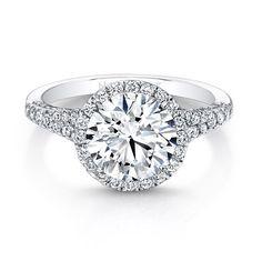 18K White Gold Split Shank Diamond Halo Engagement Ring - FM29440-18W