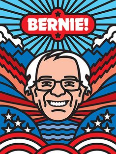 Bernie, by Aaron Draplin.  If California does not award Bernie Sanders some delegates, then the Dems will have officially sponsored an oligarchy.
