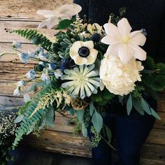 Anemones, Cool Tones and Delicate Ferns