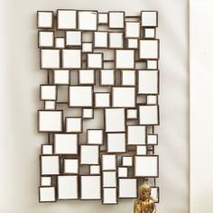 Facets, Square Wall Mirror Iron/Mirror © Twos Company