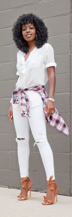 Tunic + Plaid Shirt + Ripped Skinnies / Fashion By Style Pantry