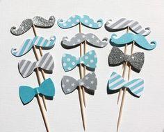 12 décorations pour gâteaux et cupcakes, thème moustache et noeud papillon, coloris bleu turquoise et gris