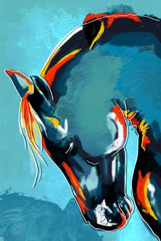 "Maxwell Dickson ""Blue Stallion"" Horse Artwork"