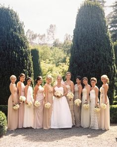 nude color palette for bridesmaids dresses via @Martha Stewart Weddings Magazine