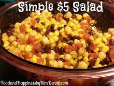 Recipe for a cheap, easy, yummy salad that will feed a crowd! #foodandhappiness