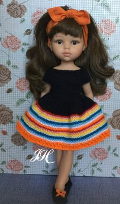 Crochet Doll Clothes, Doll Clothes Patterns, Clothing Patterns, Barbie Dress, Little Darlings, American Girl, Arts And Crafts, Crochet Hats, Abs