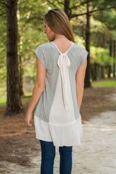 Soft Whispers Top, Gray - The Mint Julep Boutique