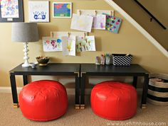 coffee tables turned art desks for kids