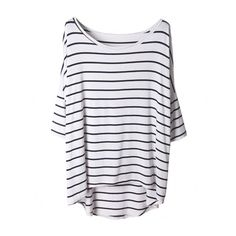 Blackfive Asymmetric Half Sleeved & Striped T-Shirt (£16) ❤ liked on Polyvore featuring tops, t-shirts, shirts, haut, white shirt, white tee, long length t shirts, white stripes t shirt and striped tee