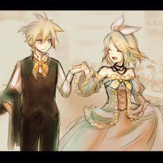 Len Kagamine (left) Servant of Evil and Rin Kagamine (right) Daughter of Evil