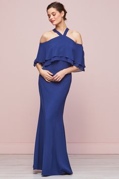 Carys Crepe And Chiffon Blue Maxi Dress Blue Maxi, Chiffon Maxi Dress, Bridesmaid Dresses, Wedding Dresses, Types Of Sleeves, Stylish, Fabric, Fashion, Party Dresses