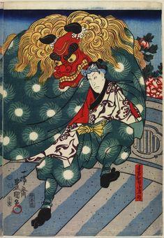 Two Kabuki actors performing Shishi-mai / Lion Dance, 1851 by Utagawa Kunisada