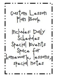 Custom Lesson Plan Book