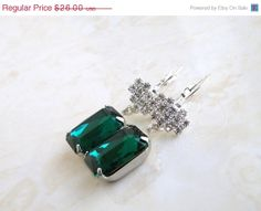 21 OFF Emerald Green Earrings Foiled Octagon Stone by SomsStudio, $20.54