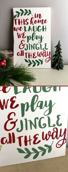 "A cute variation on the traditional ""in this home. A must have for my rustic Christmas decor! Christmas Quotes, Christmas Signs, Country Christmas, Rustic Christmas, Christmas Art, Christmas Projects, Winter Christmas, All Things Christmas, Holiday Crafts"
