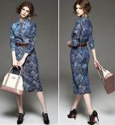 Europe fashion women's jean denim bodycon dress corset slim printed polos skirt