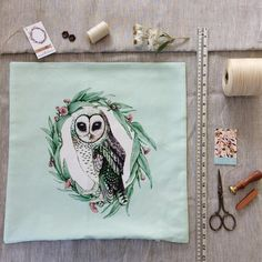 Sooty Owl on Mint, linen #thistleandfox #owlcushioncover heading off today to its new home in the USA 🌎