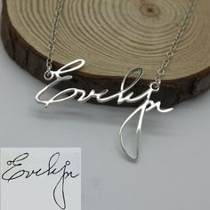 Personalized Signature Necklace Handwriting by JoelleJewelryDesign
