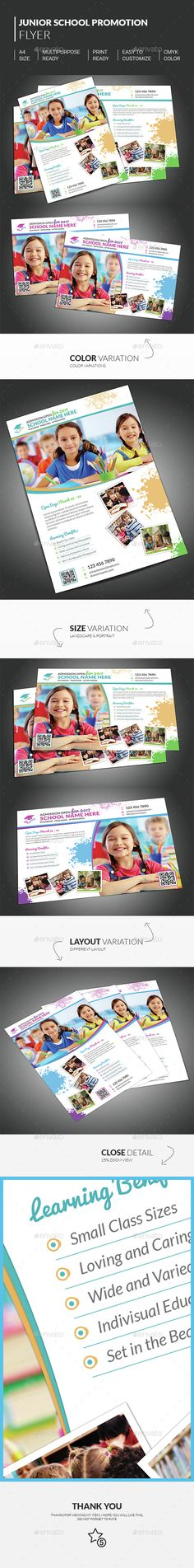 Special Junior School Promotion Flyer Template, Suitable for junior or preschool theme perfect for informing school admission, new academic year or promoting the opening of new school.