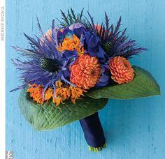 blue and orange wedding flowers.