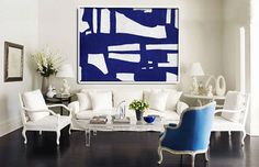 Blue And White Abstract Painting on Canvas Large by CelineZiangArt