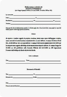 Dichiarazione per vendita opere dell'ingegno da scaricare e stampare