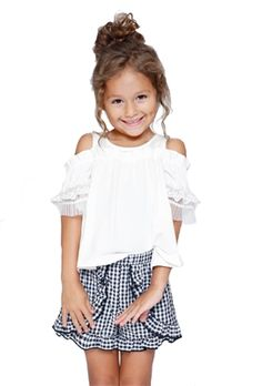 8e0991c2d6a7 Hannah Banana Off The Shoulder Top With Ruffled Lace Trim Sleeves in white
