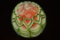 watermelon carving | ... carved zucchini leaves, carrot and green daikon flowers if you wish