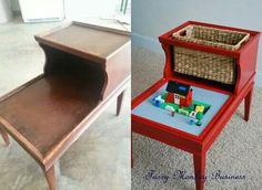 5 DIY Ideas to Recycle Old Tables (like coffee or side tables) into awesome, practical, fun Lego Tables. The table should have a fence around it so the legos don't end up under your feet.