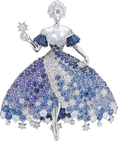 Fairy tale high jewellery collection - Van Cleef & Arpels Peau d'Âne collection white gold Moon Dress brooch with diamonds, blue spinels, blue and purple tanzanites, and blue and purple sapphires. Van Cleef Arpels, Van Cleef And Arpels Jewelry, Antique Jewelry, Vintage Jewelry, Cartier Jewelry, Gold Jewellery, Jewlery, Purple Sapphire, Look Vintage