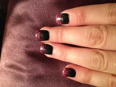 No nail polish!!!! Black sparkle acrylic powder with pink sparkle acrylic powder overlay and a clear shellac top coat. I don't have to worry about nail polish chipping or smudging!!!