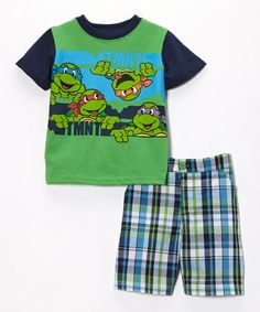 Look what I found on #zulily! Green TMNT Tee & Plaid Shorts - Toddler #zulilyfinds