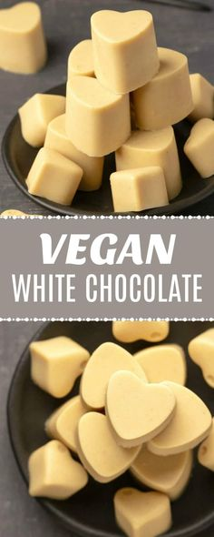 This vegan white chocolate is so smooth and creamy you'll totally fall in love w… – Vegan desserts - Vegan Vegan Candies, Vegan Treats, Vegan Foods, Vegan Dishes, Healthy Treats, Vegan Dessert Recipes, Delicious Vegan Recipes, Vegan White Chocolate, Chocolate Chocolate