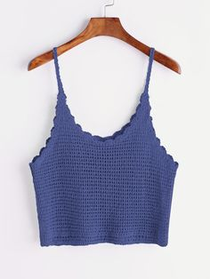 Blue Scalloped Hem Knitted Cami Top - Blue Scalloped Hem Knitted Cami Top Source by jhaidyalejandra - Crochet Cami Tops, Crochet Summer Tops, Crochet Shirt, Débardeurs Au Crochet, Gilet Crochet, Crochet Bikini, Crochet Baby, Crochet Clothes, Diy Clothes
