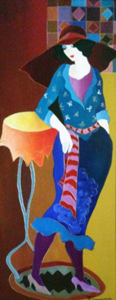 "Original Painting ""Setting the Mood"" by Itzchak Tarkay"