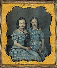 +~+~ Antique Photograph ~+~+  Two girls in blue polka dot dresses.  Hand tinted daguerreotype. 1850.