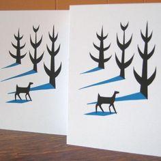 Deer in Winter screenprinted card - Folksy  #Christmas #Winter #card #design #graphic