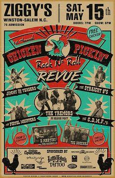Chicken Pickin Rockabilly Poster