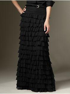 long ruffle skirt