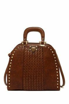 Woven bolso hermoso y Monederos Studded Segolene Bowler monederos bolsos Paris qFanzwE
