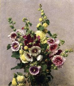 "artfortheages: ""Hollyhocks Henri - Fantin-Latour - 1895 """
