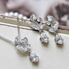 Set of 345678 Bridesmaid Earrings Necklace Art Deco