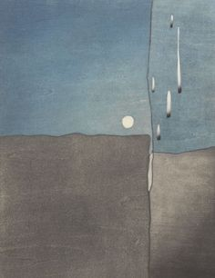 "Hidehiko Goto (Japanese, b. 1953) 12 ⅝"" x 9 ¾"" plate size ""Moonlight"". Color woodblock print,"