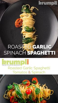 Roasted garlic is a beautiful thing and roasted garlic spaghetti is even better, add some simply seared tomatoes, a bit of spinach and loads of black pepper and you are away. With only 5 minutes preparation this is an easy week night meal Indian Food Recipes, Italian Recipes, Vegetarian Recipes, Easy Cooking, Cooking Recipes, Cooking Oil, Crepe Vegan, Garlic Spaghetti, Spaghetti Spinach