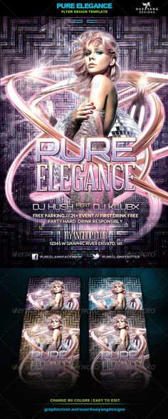 """Pure Elegance Flyer #GraphicRiver Pure Elegance Flyer Template Flyer to promote futuristic glamour type events. Experience elegance in its purest form! File Info: 4×6"""" w/ .25"""" bleeds, 300dpi, CMYK color Color coded, 1 layered PSD file Fonts: Novecento Wide Abraham Lincoln Bicubik Model is NOT included. Created: 7 December 13 Graphics Files Included: Photoshop PSD Layered: Yes Minimum Adobe ..."""