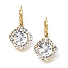 ' Tailored Crystal Solitaire Gold Drop Earrings' is going up for auction at  5pm Tue, Mar 19 with a starting bid of $10.