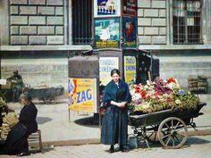 """Paris 1918...The Autochrome process was developed by the Lumière brothers in 1903. The technique was based on a composite of black and white emulsions passed through a series of color filters (red, blue and green) designed based on potato starch."""""""