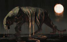 False Sun by JadeMere lava (tiger monster beast creature animal) (click artwork for source) Mythological Creatures, Mythical Creatures, Big Cats Art, Beast Creature, Tiger Art, Sun Art, Creature Concept, Creature Design, Animal Drawings